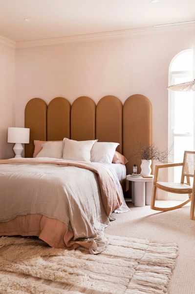Curved Bed Head by Three Birds Renovations available at Create Estate