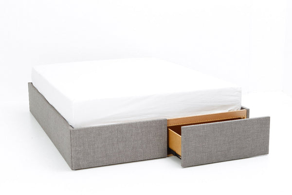 Box Bed Base with Drawers | Upholstered