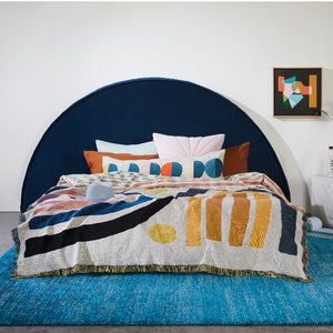 Round Navy Velvet Bed Head on Sale