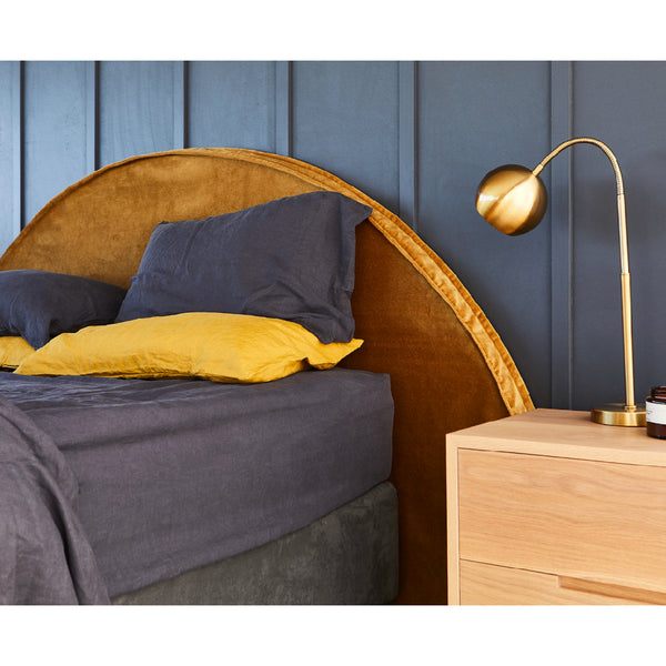 Gold Velvet Bedhead Australia | Round Bedhead Shape Made in Australia by Create Estate