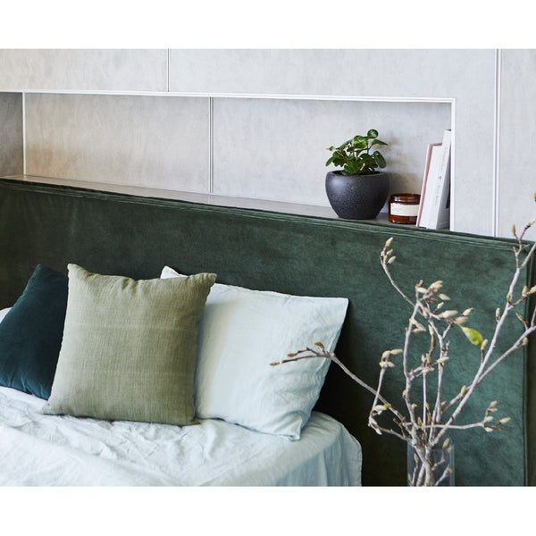 Green Velvet Bedhead Made in Australia by Create Estate