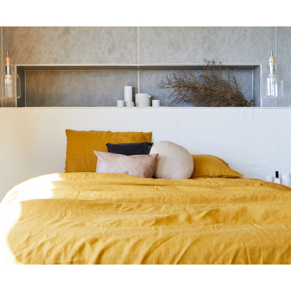 White Linen Bedhead with Slipcover Made in Australia by Create Estate