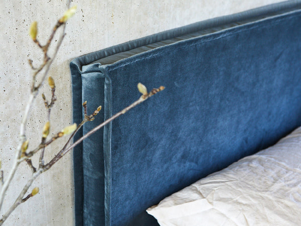 Grey Blue Velvet Bedhead Made in Australia by Create Estate