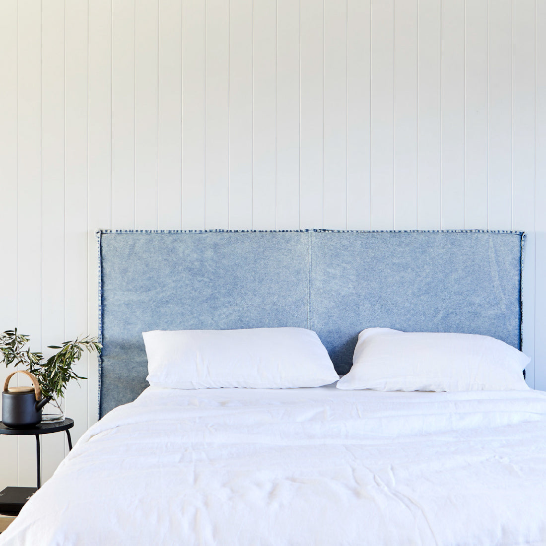 Old Faithful Bedhead with Denim Slipcover
