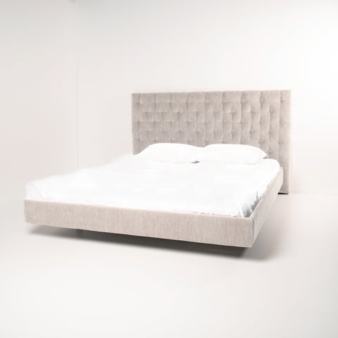 Buttoned Bed Head & Bed Frame by Create Estate