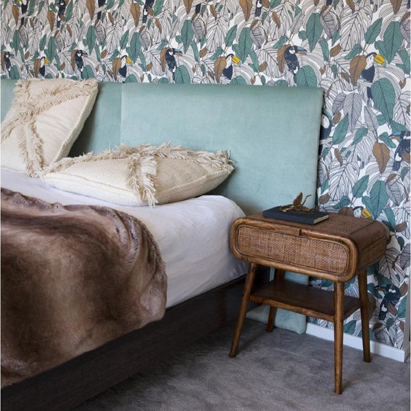 Extra Wide Bed Head Upholstered in Sage Velvet by Create Estate