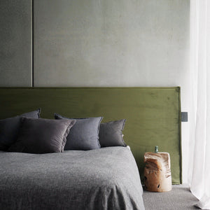 Velvet Bedhead with Slipcover (Fern Green) | Long Time Bedhead - Sale