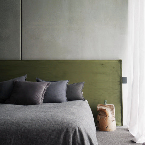 Green Velvet Bed Head the Long Time by Create Estate. Sheer blinds in master bedroom