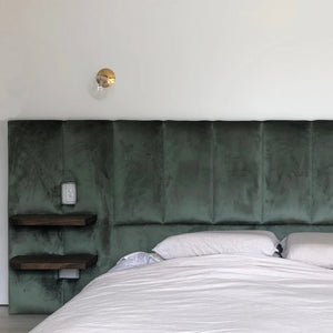Upholstered Bedhead with Floating Timber Shelves - by Create Estate