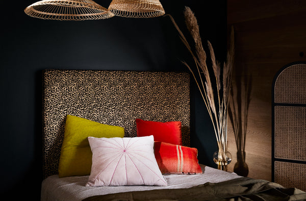 Upholstered Bedhead | Embossed Leopard by Create Estate