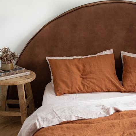 Faux Leather Bed Head | Round Shape with Slipcover Made by Create Estate