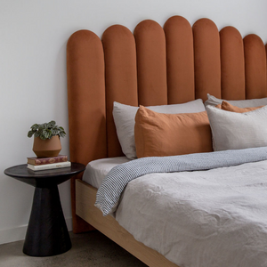 Arch Bed Frame in Terracotta Velvet by Create Estate