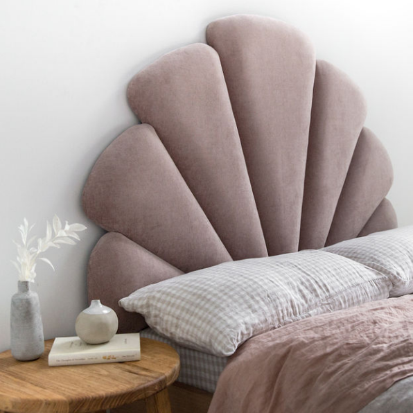 Upholstered Bed Head Unique Shell Clam Shape in Pink Velvet by Creat Estate