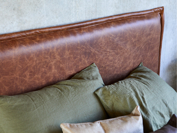 Leather Upholstered Bed Head by Create Estate