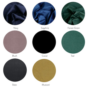Velvet Bedhead Fabric Colour Options for Upholstered Bed Heads Made in Australia by Create Estate