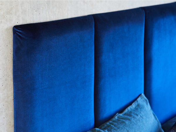 Panelled Bed Head Upholstered in Blue Velvet. Hand made by Create Estate in Australia