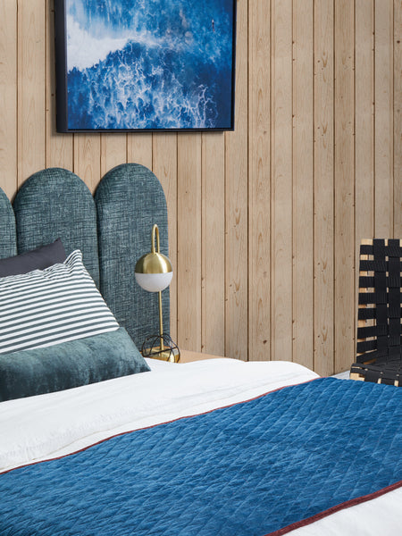 Scotch Finger Upholstered Blue Bed Head by Create Estate