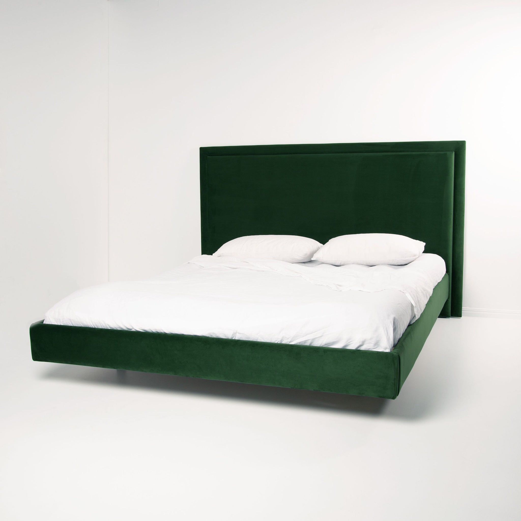 Velvet Bed Frame in Forest Green featuring the Floating Bed Base by Create Estate