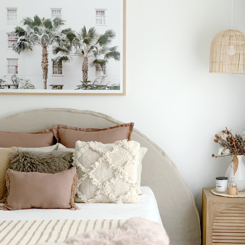 Linen Bed Head with Slipcover | The Half Moon