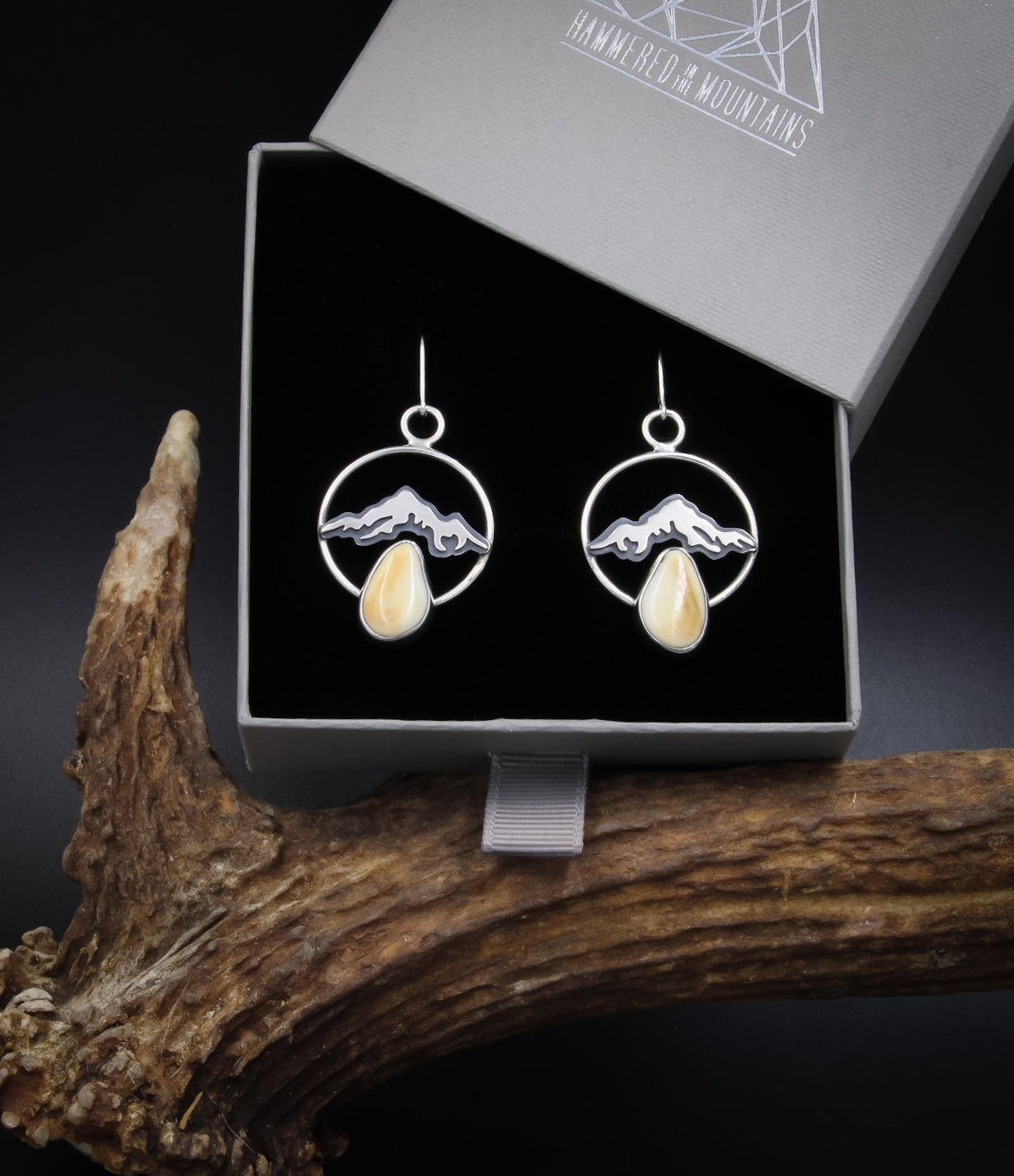Elk Ivory Custom Mountain Earrings Elk Ivory Earrings
