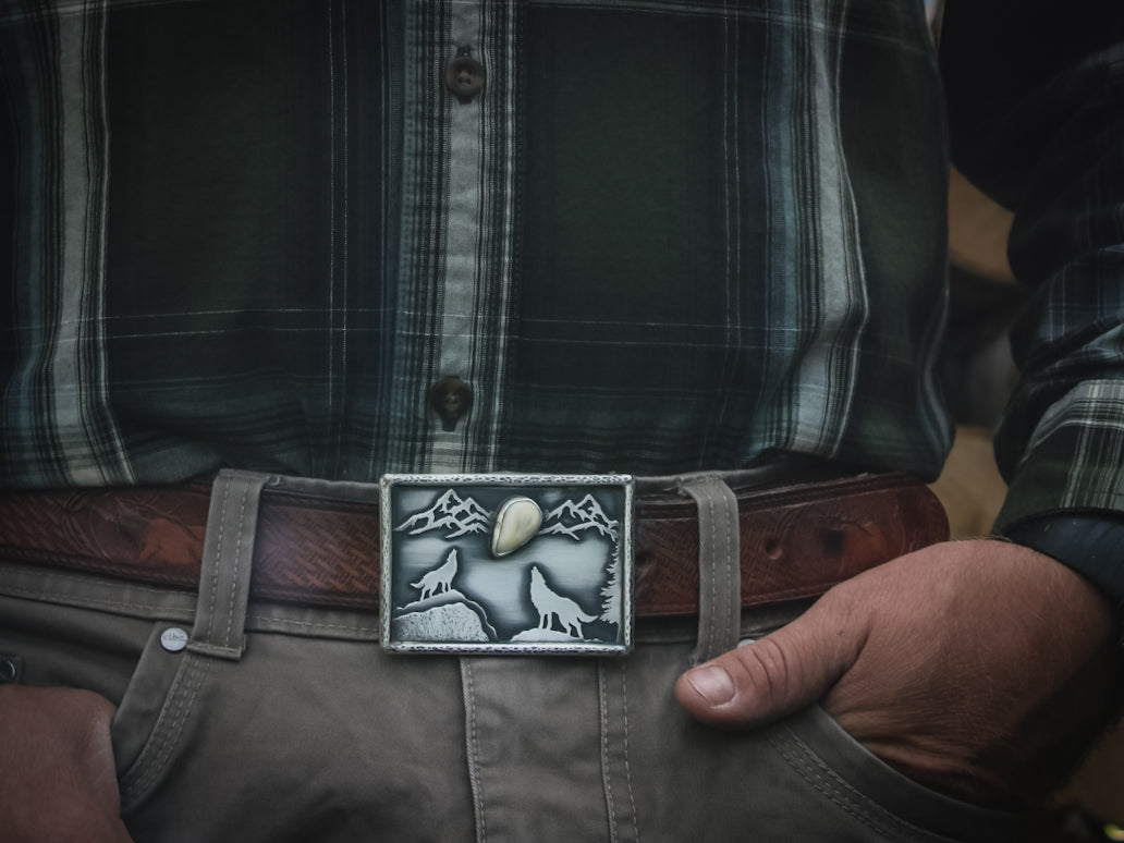 Elk Ivory Belt Buckle, custom belt buckle