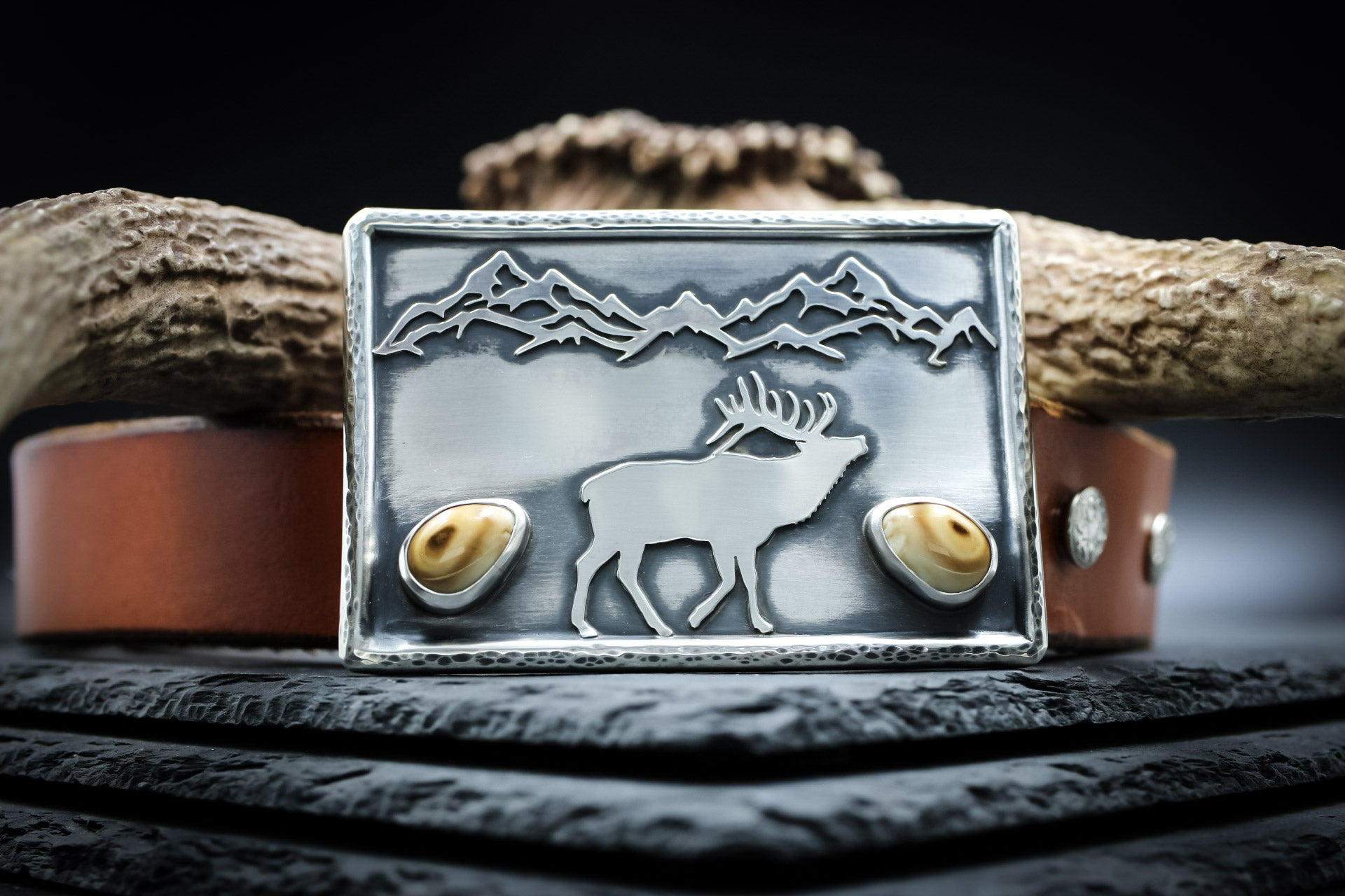 Custom Belt Buckle, Elk Ivory Belt Buckle