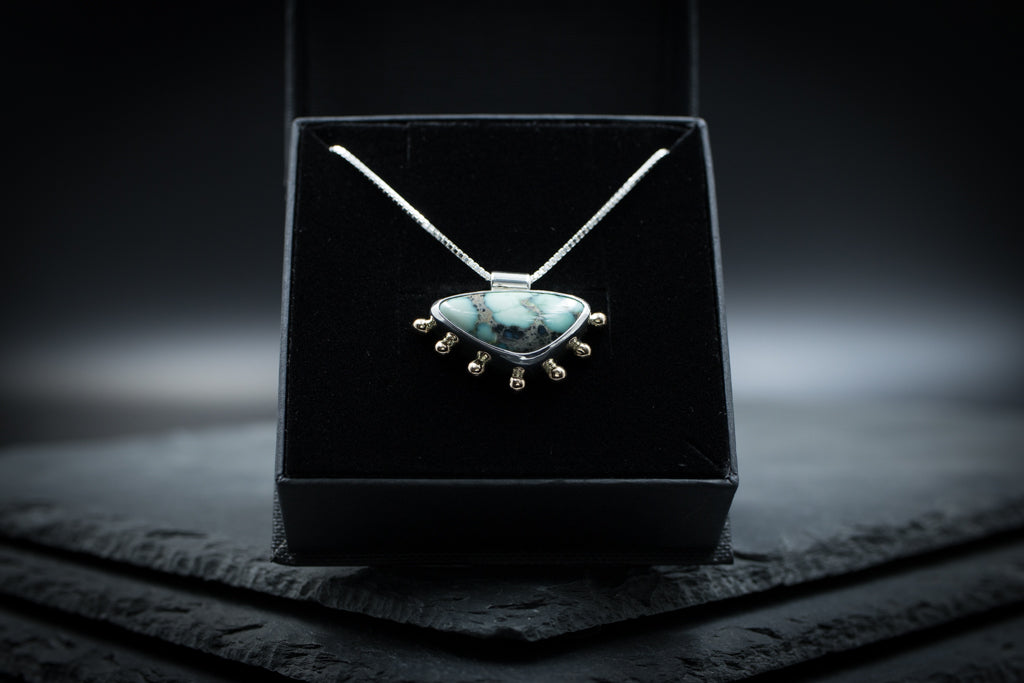 Dripping In Gold • Calypso Mine Variscite (Nevada) • Sterling Silver & 14K Gold