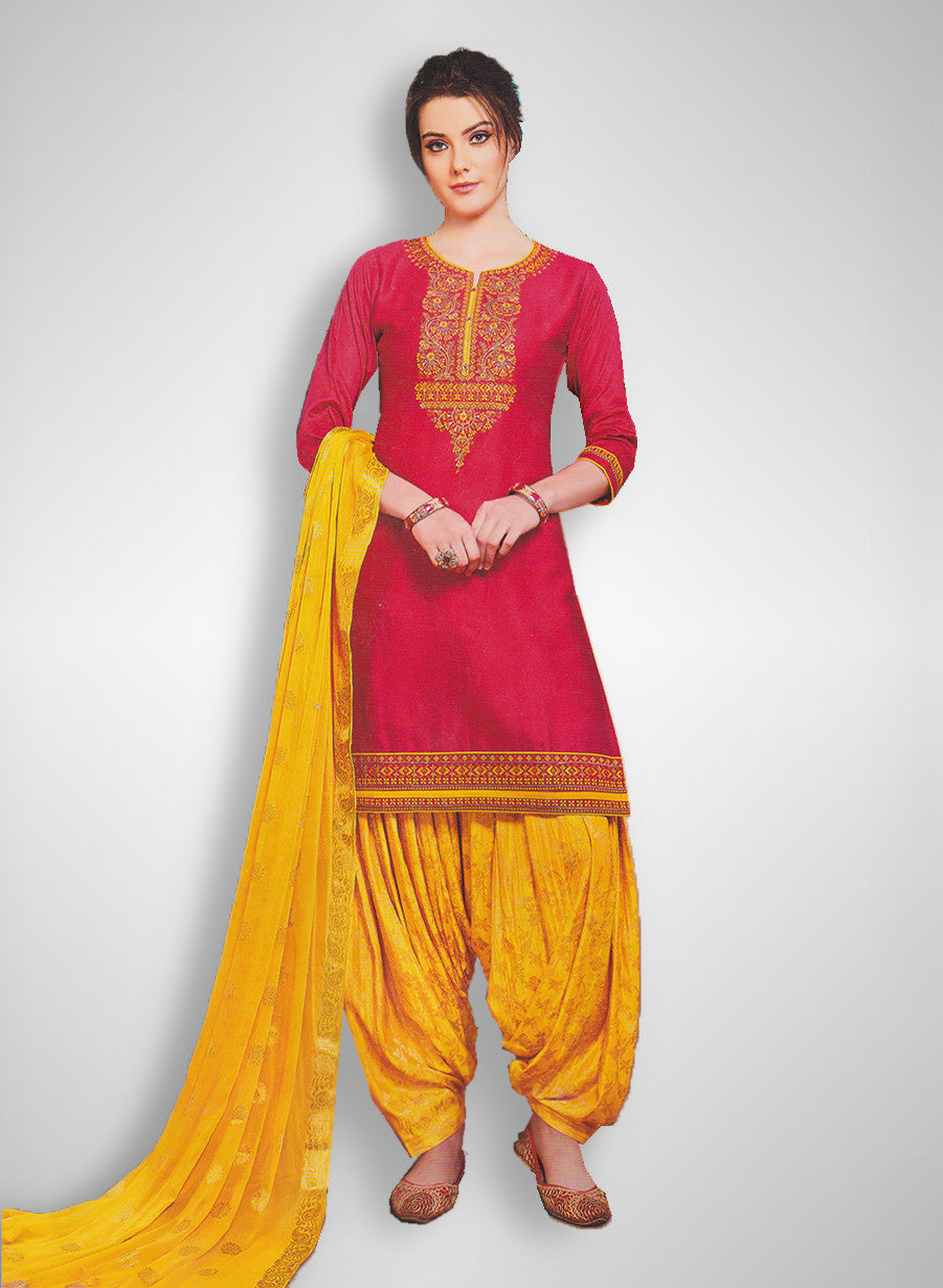 48cebf855c Buy Patiyala Complete Readymade Dress Full Stitched Pink and Yellow (40% OFF)  at Rs.1800 only in India
