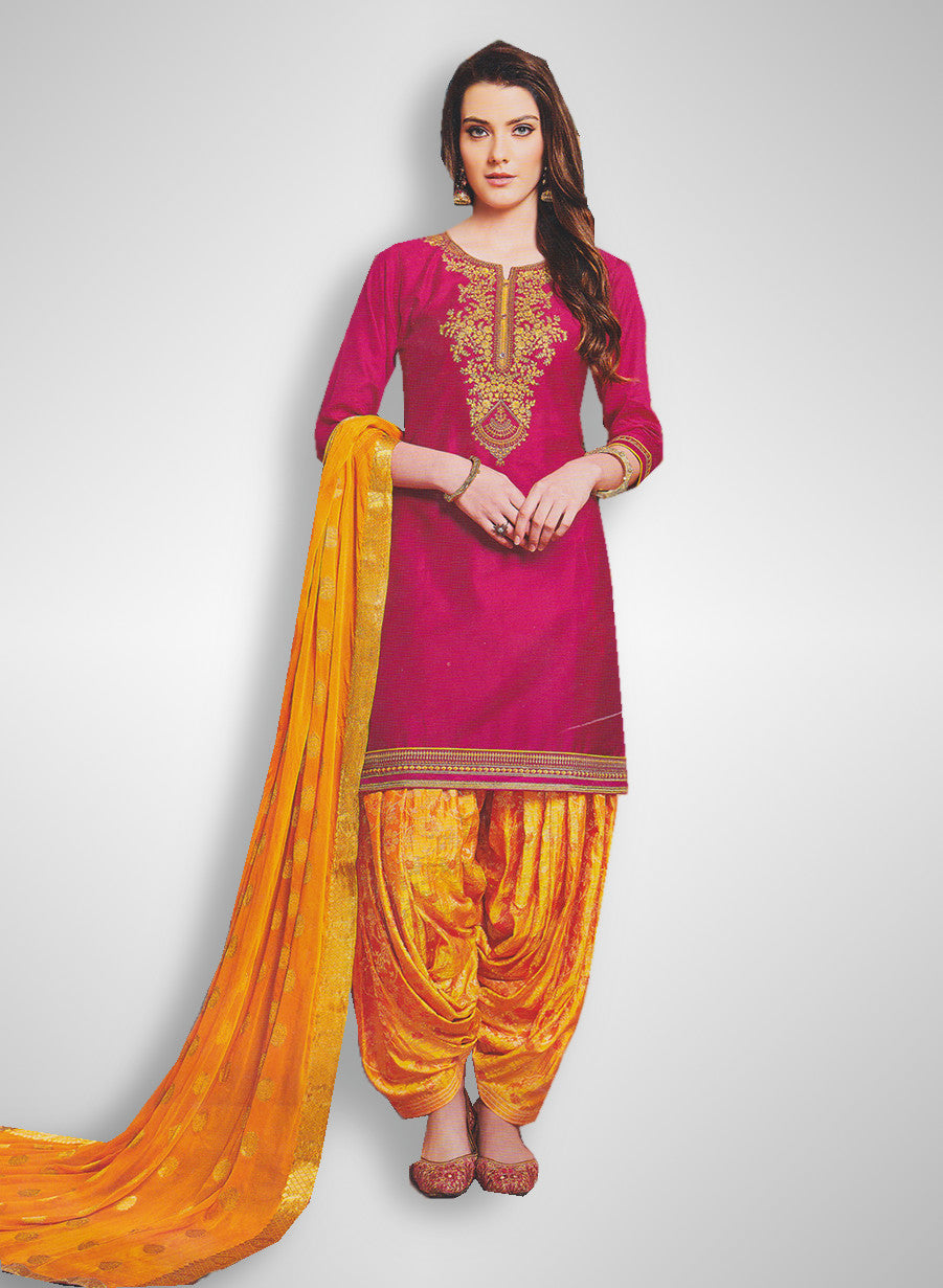 941ca5052e Buy Patiyala Complete Readymade Dress Full Stitched Pink and Orange (40% OFF)  at Rs.1800 only in India