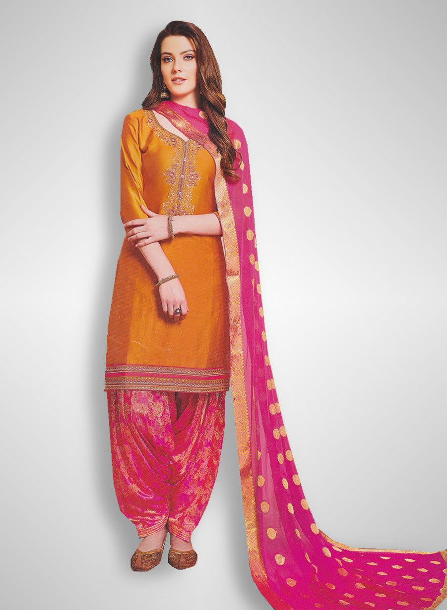 d5dda53bdd Buy Patiyala Complete Readymade Dress Full Stitched Orange and Pink (40% OFF)  at Rs.1800 only in India