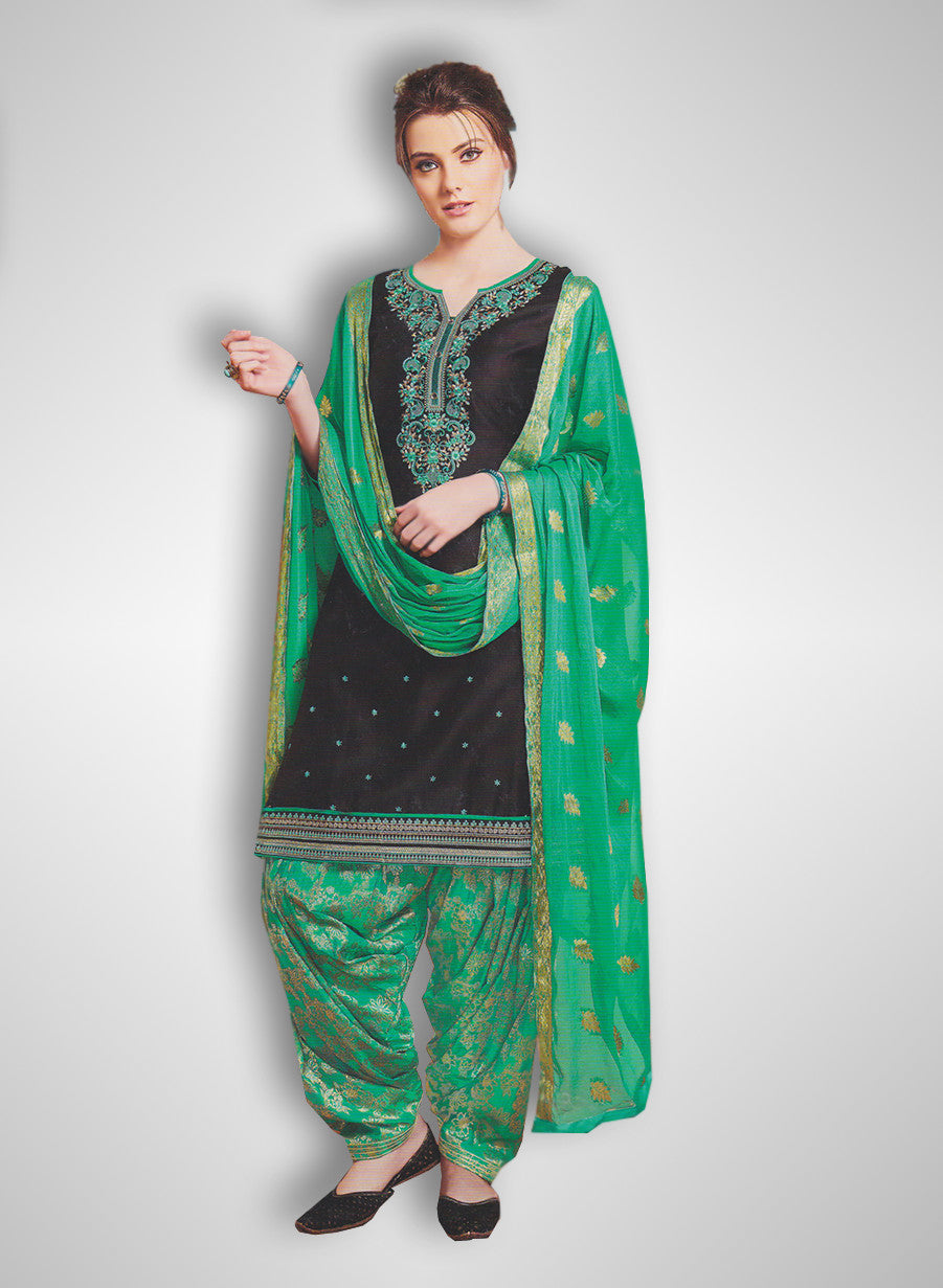 34e7ecf9bd Buy Patiyala Complete Readymade Dress Full Stitched Black and Green (40% OFF)  at Rs.1800 only in India