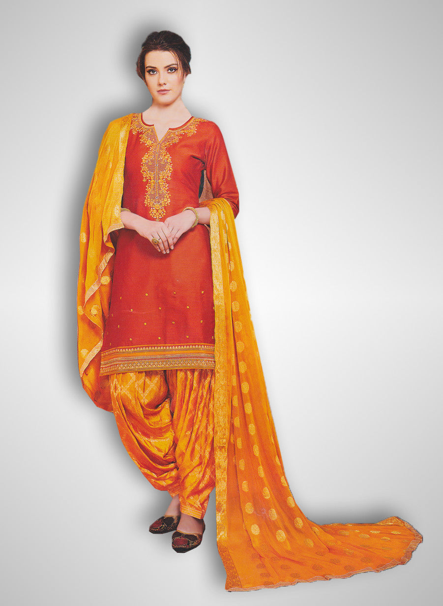 f9e2dfae4a Buy Patiyala Complete Readymade Dress Full Stitched Red and Orange (40% OFF)  at Rs.1800 only in India