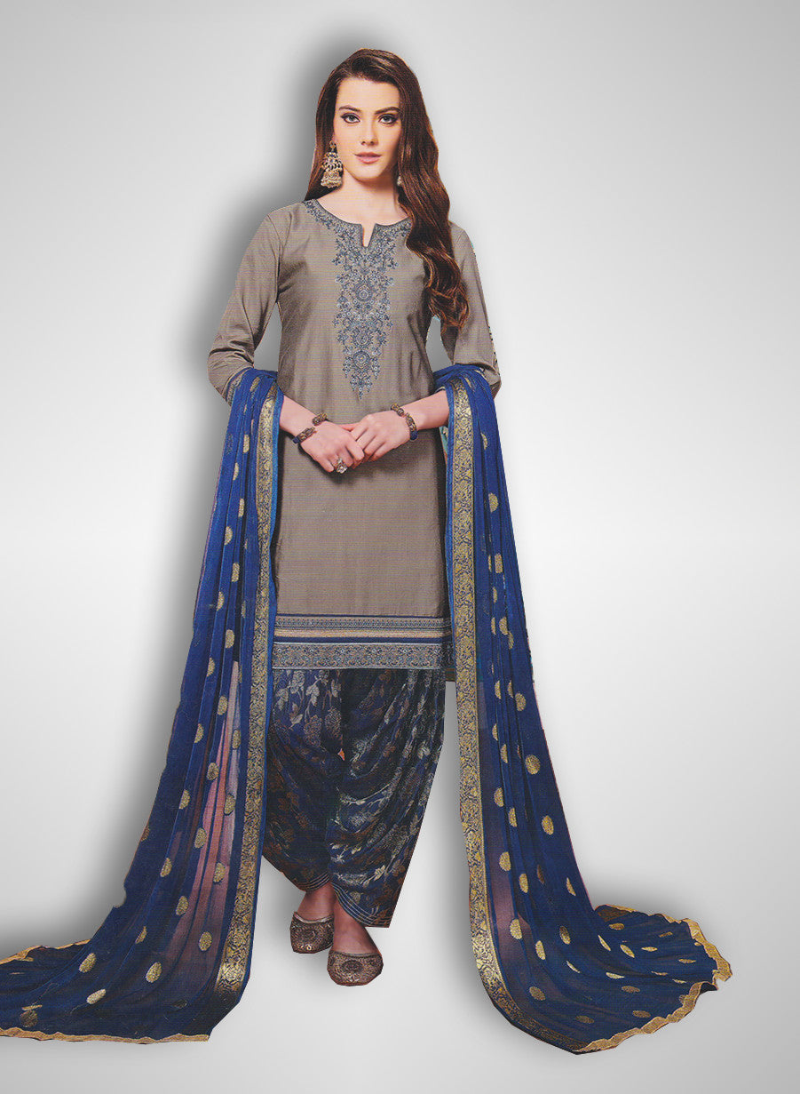 2f6f737ed3 Buy Patiyala Complete Readymade Dress Full Stitched Grey and Blue (40% OFF)  at Rs.1800 only in India