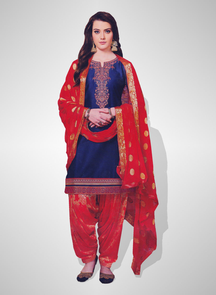409831cf53 Buy Patiyala Complete Readymade Dress Full Stitched Blue and Red (40% OFF)  at Rs.1800 only in India
