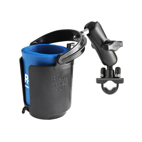 RAM Handlebar Rail Mount with Zinc Coated U-Bolt Base, Cup Drink Holder & Koozie (RAM-B-132RU) - RAM Mounts IDstralia - Mounts ID