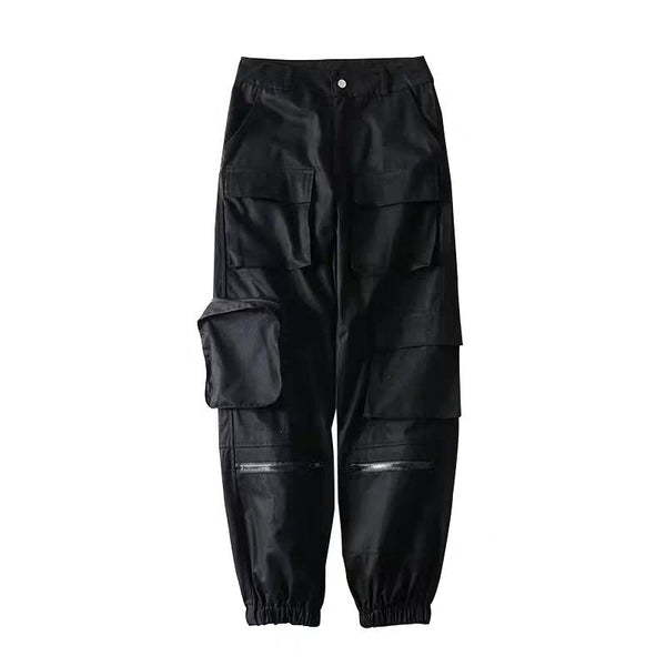 Extra Dark Black 3-D Cargo Pants