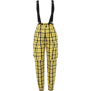 Yellow Check Cargo Pants With Suspenders