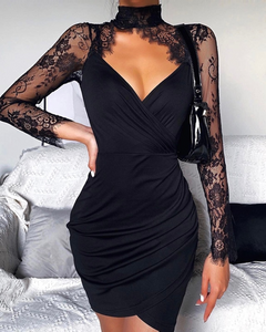 Black Lace Detailed Cut Out Bodycon Dress