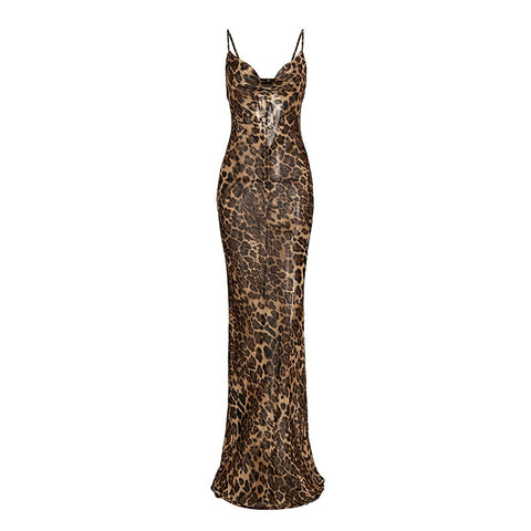 Blanche Cowl Neck Leopard Dress