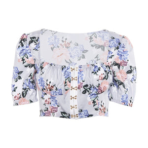Floral Hook & Eye Puff Sleeve Crop Top