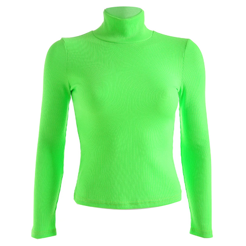 Green Neon RIbbed Turtleneck Shirt