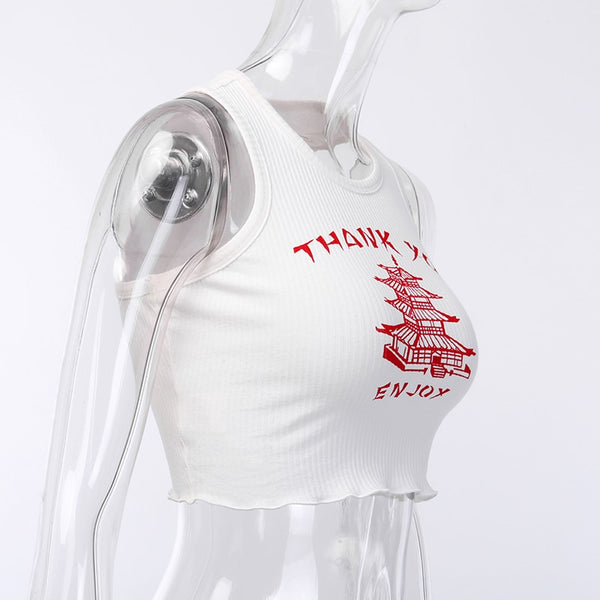 Chinese Take Away Halter Crop