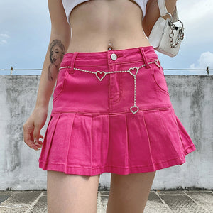 Y2k Pink Pleated Skirt