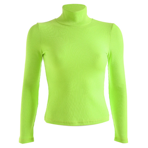Neon Yellow RIbbed Turtleneck Shirt