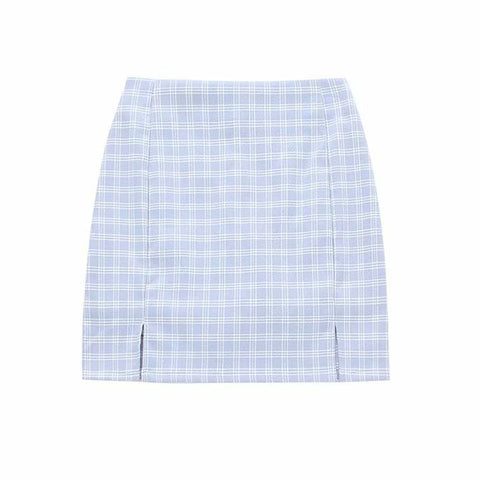 Woflie Baby Blue Plaid Skirt