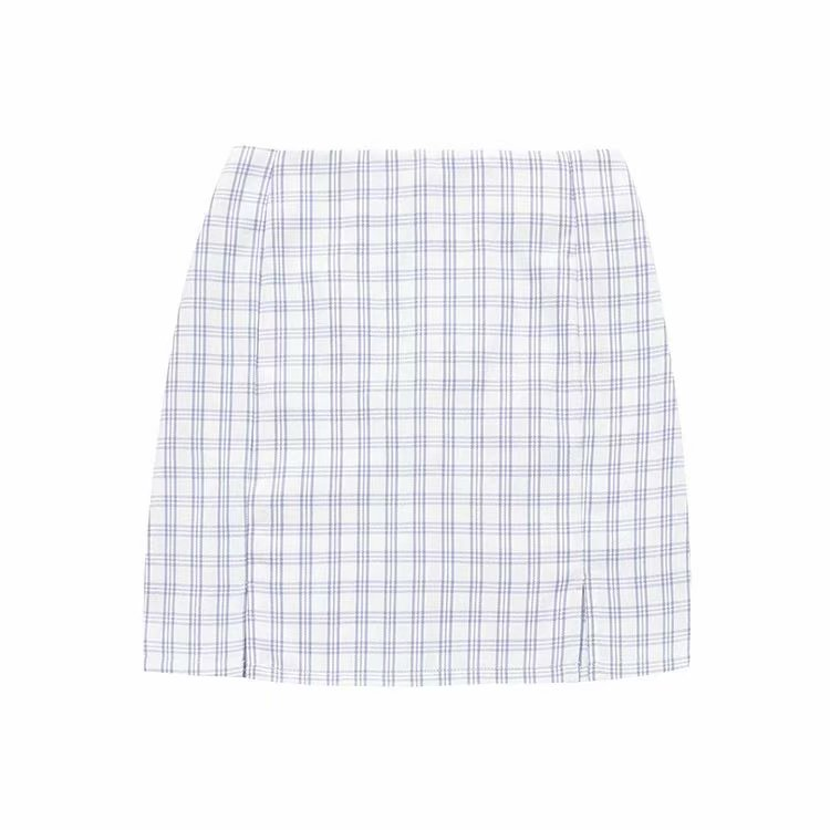 Alba Plaid Slit Mini Skirt