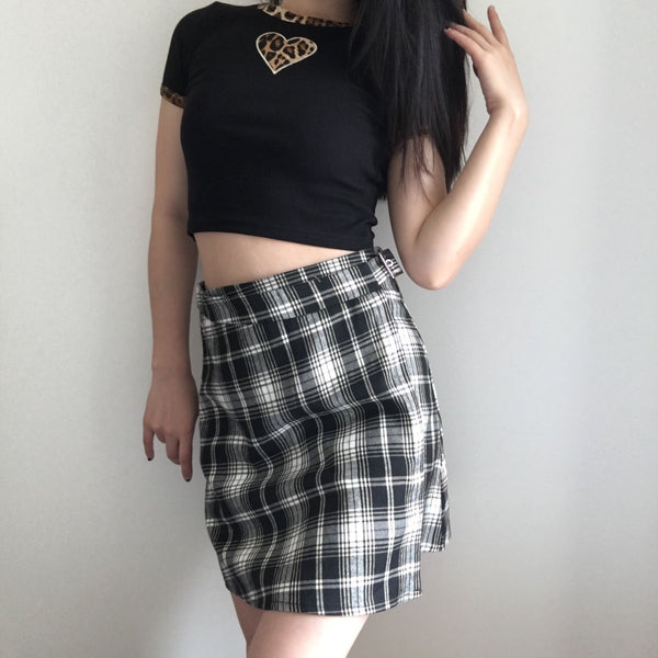 Heather Tartan Waist Wrap Mini Skirt