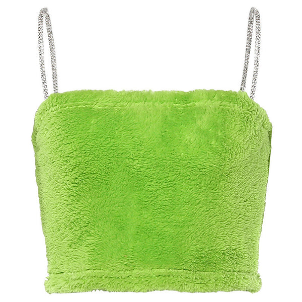 Neon Green Diamante Plush Crop Top