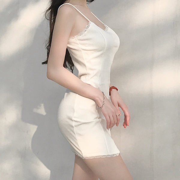 Belle Slit White Bodycon Dress