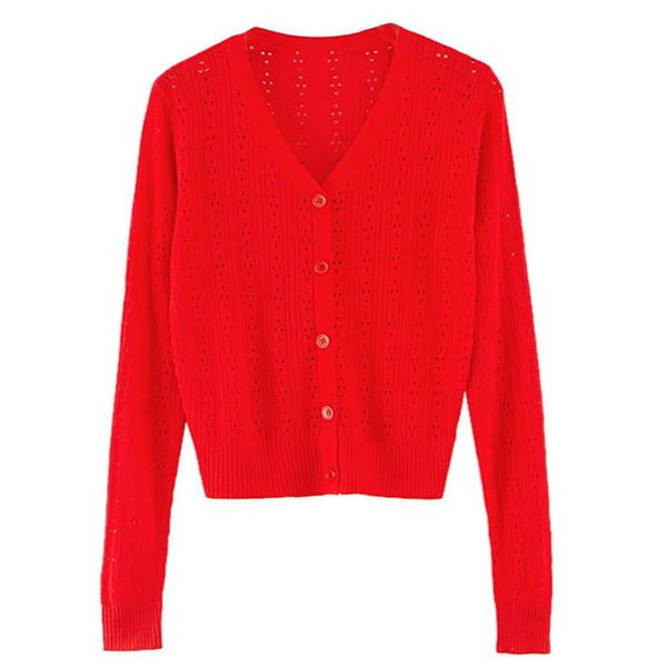 Wolfie Knit Cardigan In Red